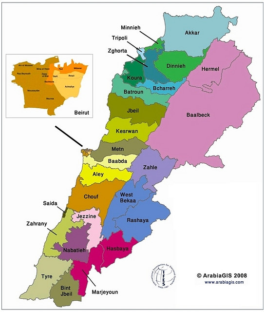 Electoral map of Lebanon according to the modified 1960 law of 2008
