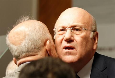 Deputy Prime Minister Samir Moukbel and Mikati after the resignation (The Daily Star)