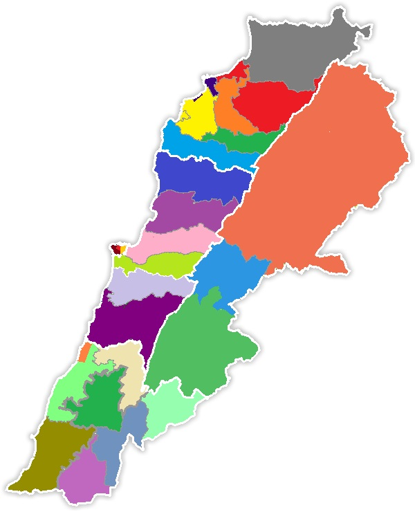 Lebanon's Electoral Map According To The March 14's Hybrid Law. The colored districts are the small winner-takes-all ones and the big ones within the white line are the big districts under proportional unlike in the picture.