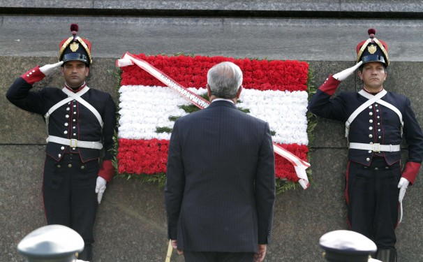 Lebanon's President Michel Sleiman during his visit to Uruguay. ANDRES STAPFF / Reuters