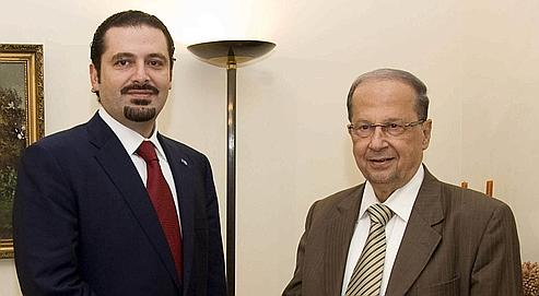 Hariri-Aoun Meeting in 2009 (AFP)