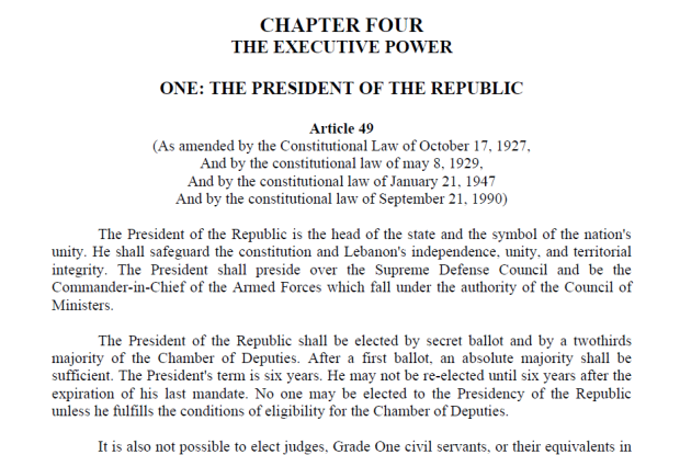 Article 49 Lebanese Constitution