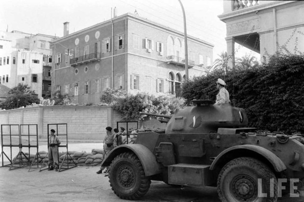 A Lebanese Staghound securing the presidential palace in Kantari, Beirut (1958)