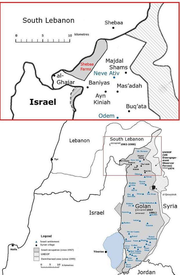 A map of the Shebaa Farms (Shukran Wikipedia)