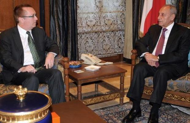 U.S. official Jeffrey Feltman, left, meets with Parliament Speaker Nabih Berri in Beirut, Lebanon, Thursday, Dec. 8, 2011. (The Daily Star Photo/Mohammad Azakir).