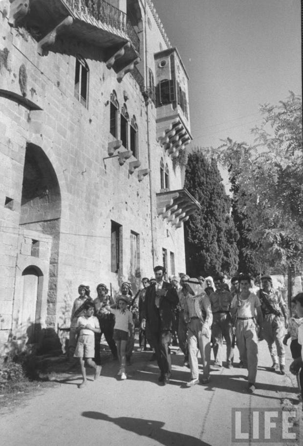 Leader Kamal Jumblatt (C) walking with his Druse ArmyAugust 1958 Photographer Michael Rougier