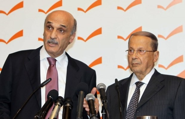FPM leader Michel Aoun and LF leader Samir Geagea speak during a joint press conference in Rabieh, Tuesday, June 2, 2015. (The Daily Star/Stringer)