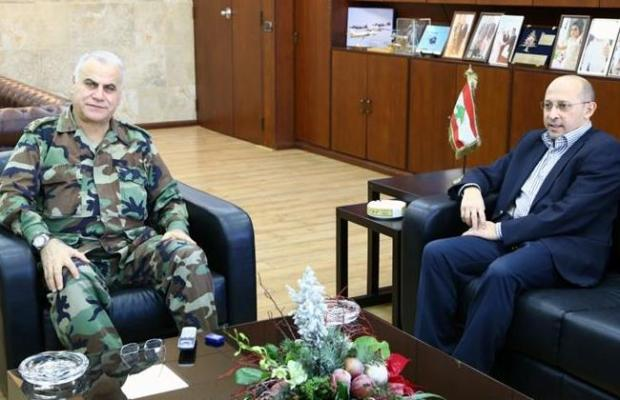 Image from December 2014. Change and Reform bloc MP Alain Aoun meets with Lebanese Army Commander Gen. Jean Kahwagi. (The Daily Star/Lebanese Army website, HO)