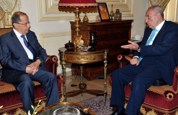 Parliament Speaker Nabih Berri, right, receives FPM leader Michel Aoun in Beirut, Wednesday, June 4, 2014. (The Daily Star/Lebanese Parliament Website, HO)