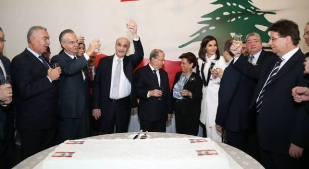Lebanese Forces leader Samir Geagea and former General Michel Aoun celebrate with officials from both parties Geagea's official endorsement of Aoun's candidacy for the presidency. Image source - Annahar