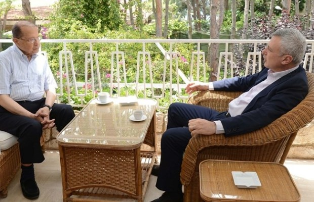 Free Patriotic Movement leader Michel Aoun (L) meets with Marada Movement leader Sleiman Frangieh in Rabieh, Wednesday, June 11, 2014. (The Daily StarFPM office, HO)