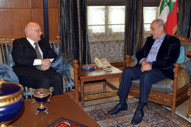 Obeid (L), meeting with speaker Nabih Berri (R). Image found on the internet