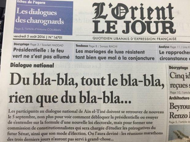 Headline L'orient le jour August 2016