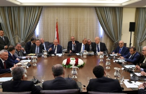 Rival leaders meet for national dialogue at Speaker Nabih Berri's residence in Ain al-Tineh, Tuesday, Aug. 2, 2016